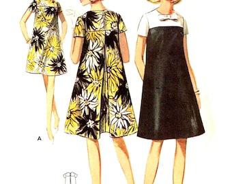 Sewing Pattern Vintage 1960 Butterick 4564 Tent Dress, High Jewel Neckline Color Block Trapeze Inverted Pleat Size 14 Bust 34