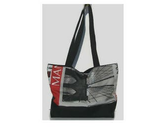 Black and multicolor fabric Tote shopping bag