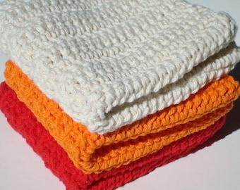 Three Cotton Washcloths, Dishcloths - Orange, Natural White, Red Wash Cloths, Dish Cloths, Crocheted, Crochet Kitchen Washcloths, Dishcloths
