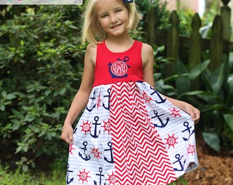 Summer red white and blue Monogramed Anchor Dress