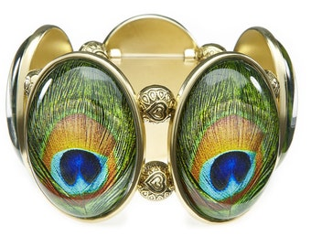 Peacock Five-Cameo Stretch Bracelet