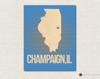 Champaign Map of Illinois Love Home Heart Print Multiple Colors 8x10 & 11x14 - INSTANT DOWNLOAD DIY