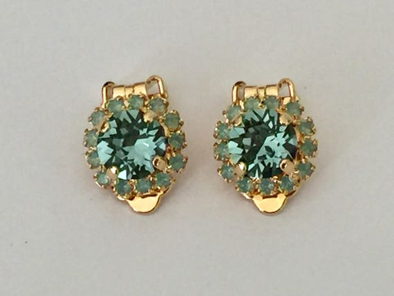 Indian Sapphire and Pacific Opal Swarovski Crystal Clip On Earrings, Yellow Gold