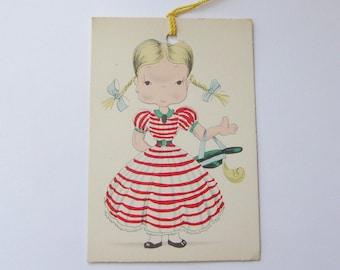 Vintage unused Gibson bridge tally card school girl in red striped dress ephemera scorecard
