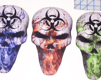 BIO Hazard Flame Skull trailer Window Decal Decals Sticker Hunt