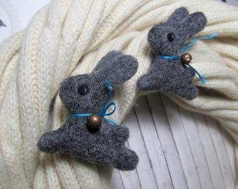 only 1 brooch Cute rabbit brooch Bunny animal brooch  Needle felted rabbit pin Rabbit gift