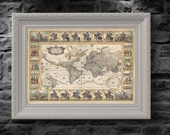1652 Old, Rare and Vintage World Map by Nicolaes Visscher - Nova Totius Terrarum Orbis geographica ac hydrographica tabula - Replica Print