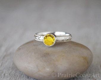 Golden Topaz Ring in Sterling Silver - Handcrafted Topaz Ring -  Topaz stacking Ring - November Birthstone Ring