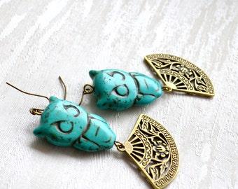 Turquoise blue owl earrings Bohemian earrings Fan earrings Gypsy jewelry Christmas gift for her Dangle earrings Owl jewelry Boho jewelry