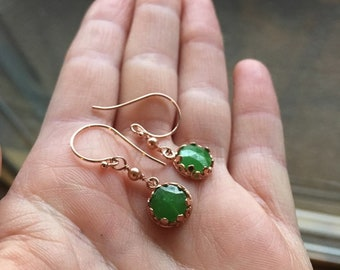 Delicate Rose Gold Vermeil Earrings: Swarovski Glass Pearls & Green Vintage 1920's Nailhead Beads in Crown Settings Free Shipping to USA