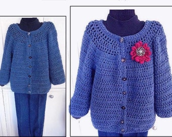 CROCHET Cardigan SWEATER PATTERN, Women's Small, Med., L, xL, 2xL, 3xL, 4xL, Blue Jeans Cardigan, Roomy Fit, any length sleeve,  #780D