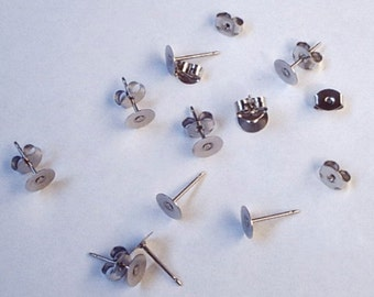 24 Stainless Steel 6mm Earring Posts and Backs - 11.7mm Long