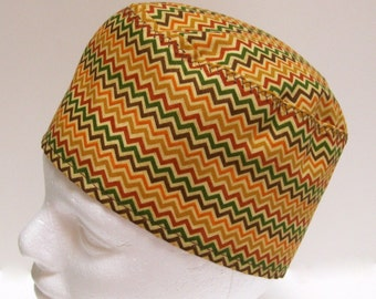 Scrub Hat, Surgery Cap or Chemo Hat with Earth Tone Chevrons