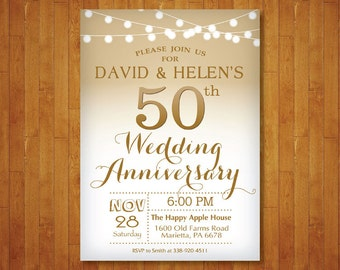 50th Wedding Anniversary Invitation. Gold and White. String Lights. Golden Fifty Wedding. Printable Digital.
