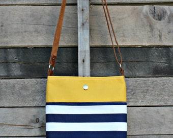 Crossbody Bag, Mustard, Navy and White Stripe, Genuine Leather, Everyday Purse, Adjustable Strap
