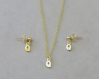 Tiny Initial Q Necklace and Earring Set - Gold or Silver Plated