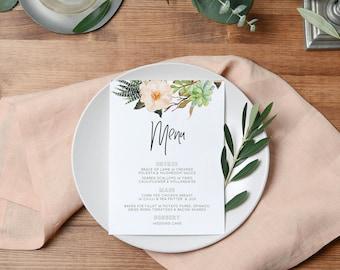 Wedding Menu, Printable Wedding Menu, Boho Wedding Menu Template, Rustic Wedding Menu, The Boho Suite