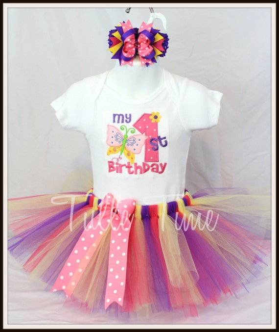 Personalized Baby's First 1st Birthday Butterfly Theme