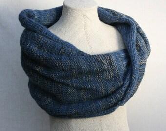Chunky Knit Shawl Blue Jeans infinity shawl knit throw knit throw blanket machine knit marled yarn shawl wrap ready to ship gift Latvia knit
