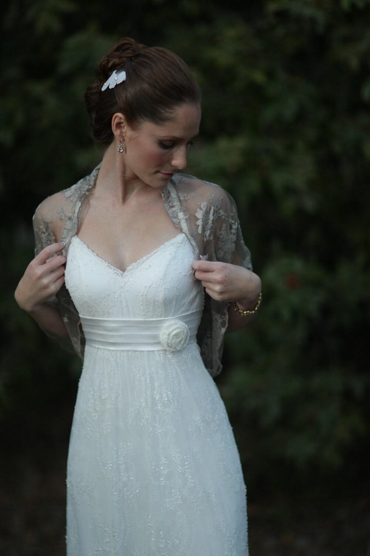 Bridal Shrug Taupe color metallic fabric. Rustic wedding