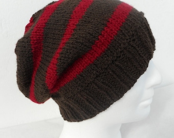 KNITTING PATTERN/CAMPUS Mans Hat Pattern/Stripe Beanie/Knit Flat/Easy Slouch Hat/Mans Slouch Beanie/Slouch Hat Pattern/College Hat Pattern