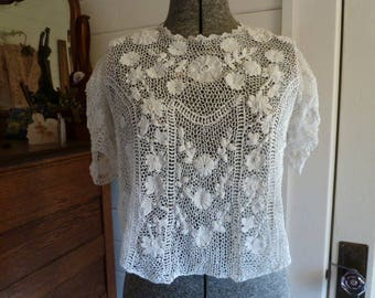 Antique Victorian Edwardian  Floral Irish Lace Blouse Top