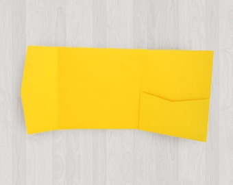 10 Square Pocket Enclosures - Yellow - DIY Invitations - Invitation Enclosures for Weddings and Other Events