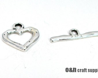 Large heart toggle clasp, antique silver T clasp, 2 sets