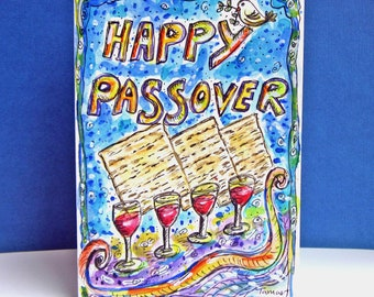Happy Passover Card, Hand Painted, Original Watercolor Painting , Peace Dove, Dove Painting, Matzo, Pesach Gift, Matzah, Pesach Seder Table