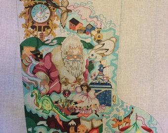 "Needlepoint Handpainted EDIE & GINGER Christmas Stocking Dreaming Santa 20"" -Free US Shipping!!!"