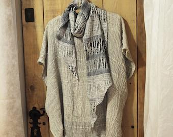 Women's scarf - linen white -blue scarf E1