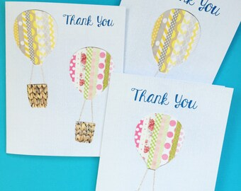 Floating Hot Air Balloons Thank You Notecards & Envelopes, Set of 10