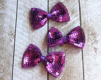"""Set of 3 2.75"""" Purple Sequin Bow Ties - For DIY Headbands & Accessories"""