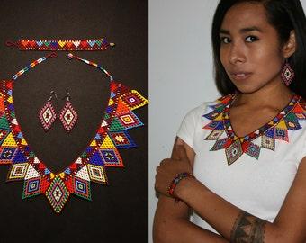 Boho Tribal Geometric Jewelry Set, Embera Beaded Jewelry, Native Style Jewelry, Tribal Style Jewelry Set, Beaded V Necklace Set