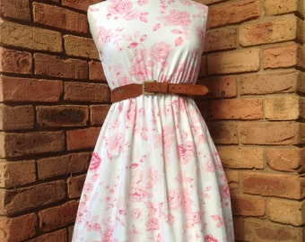Vintage inspired tunic pink rose tunic tea dress READY to SHIP Size 10-12 AUD