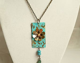 Feathers and Flowers Altered Metal Necklace,Rustic,Boho,Organic,Southwestern