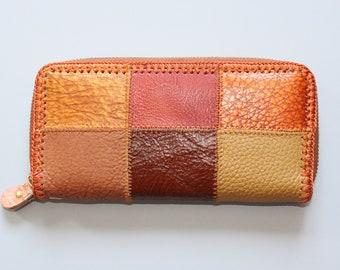 Vintage multicolor patchwork leather wallet