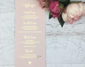 Wedding Menu - Blush Wedding Menu - Wedding Menus - Gold Foil Wedding Menu - Blush and Gold Wedding - Physical Menu - Wedding Reception