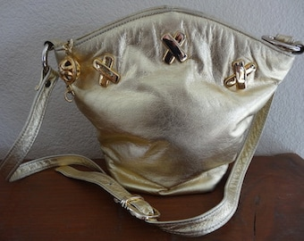 Vintage 1980's Gold Leather Handbag Made In USA By 'Ohhi Ashley' - Very Lovely!!!