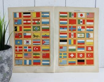 VINTAGES pays drapeau International de l'affiche, tirages d'Art Vintage, drapeaux Art Print, Illustration impression de drapeaux, Français dictionnaire Print, E365