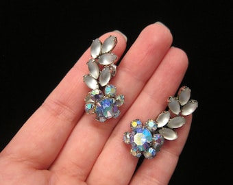 Vintage AB Aurora Borealis Flower Rhinestone Frosted Clear Glass Climbing Climber Leaves Clip On Earrings - Clip On Lever Backs Vine Vines