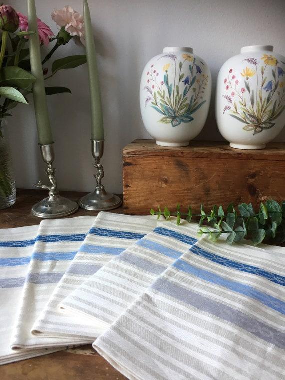 Vintage/pure linen/Almedahls/woven/Scandinavian/hand towel/kitchen towel/set of 5 /greige/ blue/ natural