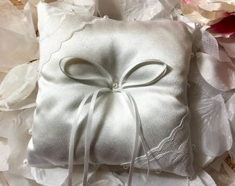 Elegant White Satin Ring Bearer's Pillow with White Pearls, Lace Wedding