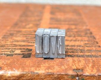 LOVE - Vintage letterpress metal type - Valentine's day gift - wedding, anniversary, love, girlfriend, boyfriend, industrial TS1030