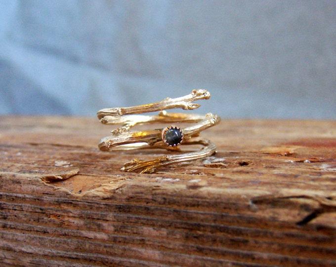 14k Gold Twig Ring Milky Aquamarine Cabochon Light Blue March Birthstone Luxury Gifts Botanical Jewelry
