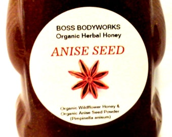 Organic ANISE SEED Herbal Honey 12 oz Pimpinella anisum, non-gmo, kosher, fair trade infused gourmet culinary wildflower