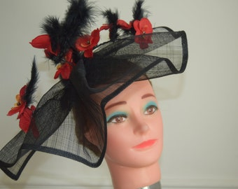 Large black fascinator with red orchid flowers Royal Ascot | Derby | Wedding