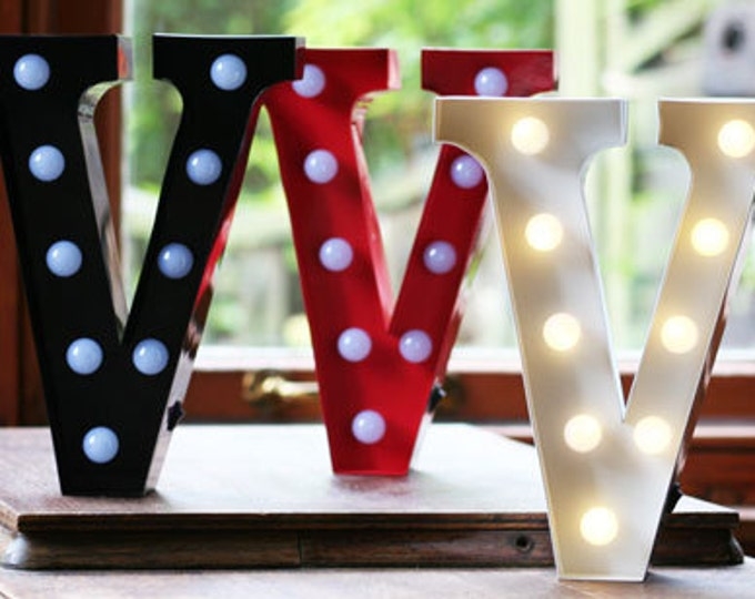 Vintage Carnival Style Marquee Light, Light up Letter V - Battery Operated