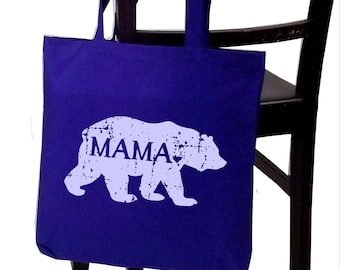 MAMA bear tote bag, screen print canvas tote, gifts for mom, Christmas gift, baby shower gift, mama bear bag, mom-to-be