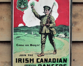 Vintage wooden sign 'Join the Irish Canadian Rangers' WW1 British Recruitment reproduction